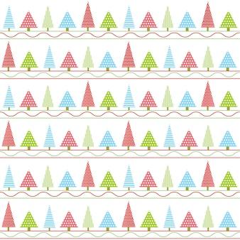 Caricature de modèle de noël de style coloré arbre et ligne de noël