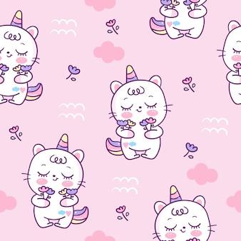 Caricature de modèle sans couture chat mignon licorne