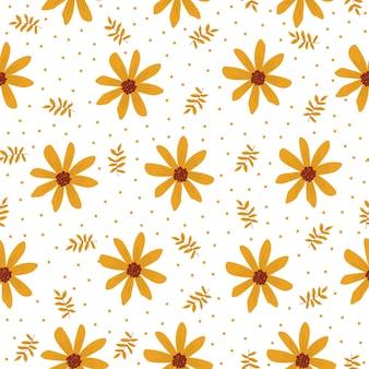 Caricature de modèle sans couture avec fleur jaune