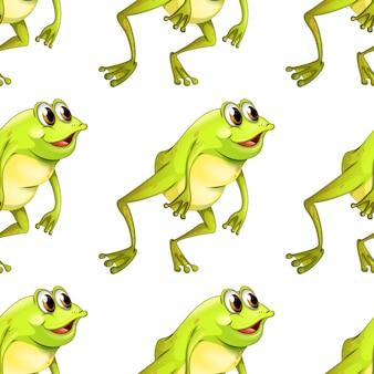 Caricature de modèle sans couture avec grenouille