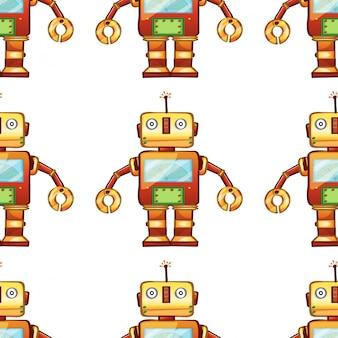 Caricature de modèle sans couture avec robot jouet
