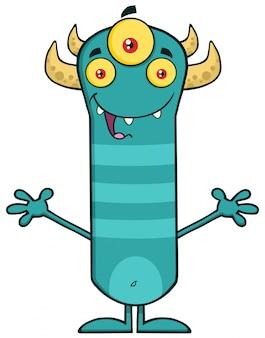 Caricature de monstre à cornes à bras ouverts