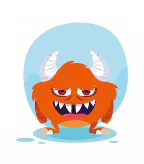 Caricature de monstre orange