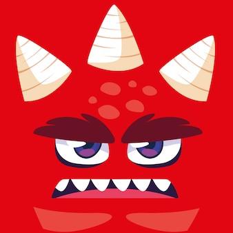 Caricature de monstre rouge