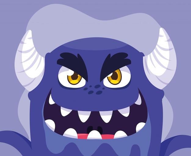 Caricature de monstre violet