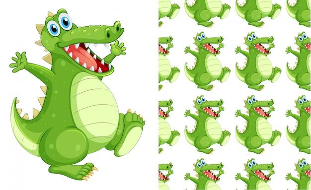 Caricature de motif de crocodile sans couture