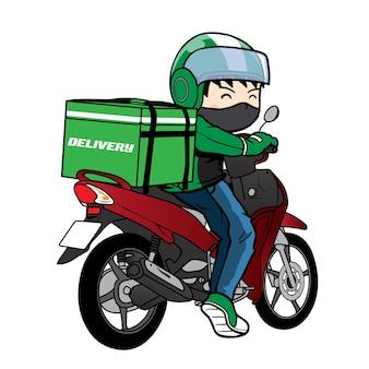 Caricature de moto de conduite de livreur