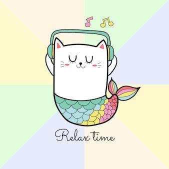 Caricature de musique écoute chat mignon sirène