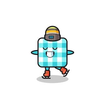 Caricature de nappe à carreaux en tant que joueur de patinage sur glace exécutant, design de style mignon pour t-shirt, autocollant, élément de logo