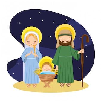 Caricature de la nativité dans la nuit