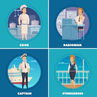 Caricature de navire de croisière yacht personnages 4 icônes de dessin animé carrés avec capitaine cuisinier radioman isolé