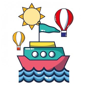 Caricature de navire sur la mer