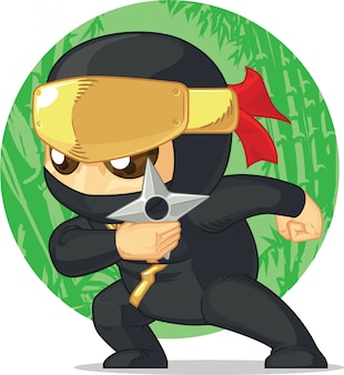 Caricature de ninja tenant shuriken