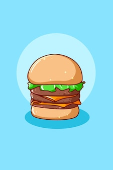 Caricature de nourriture hamburger