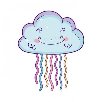 Caricature de nuage et arc-en-ciel
