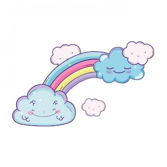 Caricature de nuages et arc-en-ciel