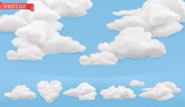 Caricature de nuages. ciel, jeu d'icônes de vecteur réaliste 3d
