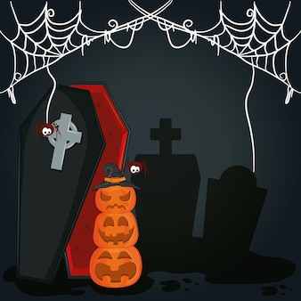 Caricature de nuit effrayant halloween heureux