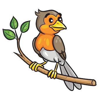 Caricature d'oiseau sur la branche