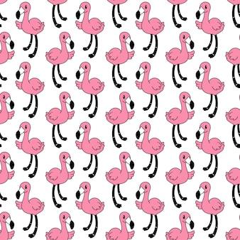 Caricature D'oiseau Modèle Sans Couture Flamingo Vecteur Premium