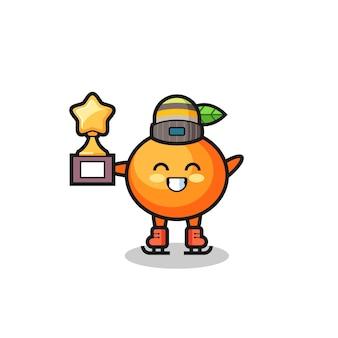 Caricature orange mandarine en tant que joueur de patinage sur glace tenant le trophée du vainqueur, design de style mignon pour t-shirt, autocollant, élément de logo