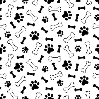 Caricature d'os de modèle sans couture de patte de chien