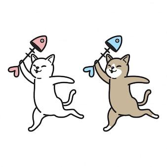 Caricature d'os de poisson chaton vecteur chat