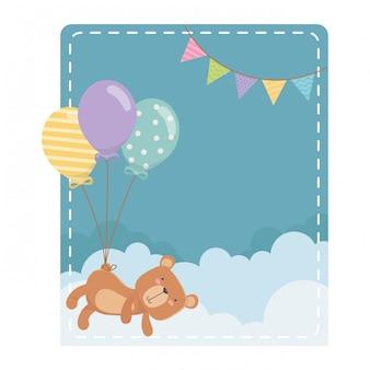 Caricature d'ours en peluche et ballons