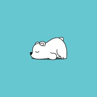 Caricature d'ours polaire paresseux, illustration vectorielle
