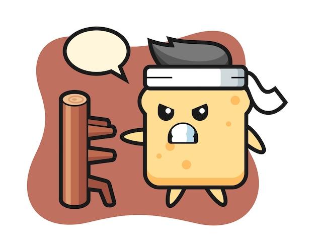 Caricature de pain comme combattant de karaté