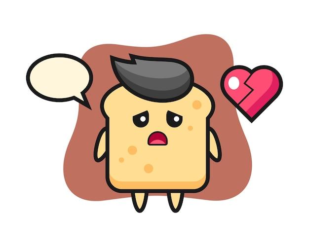 Caricature de pain est le cœur brisé
