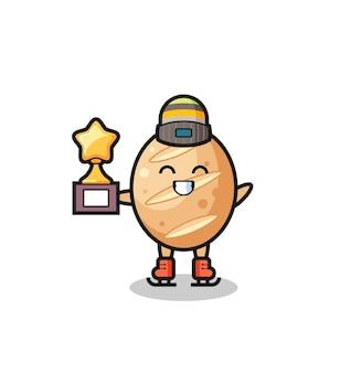 Caricature de pain français en tant que joueur de patinage sur glace tenant le trophée du gagnant, design mignon