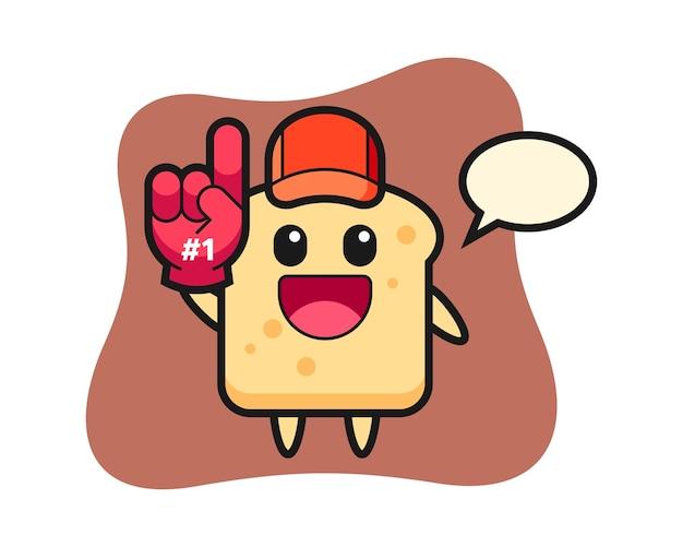 Caricature de pain avec gant de fans numéro 1