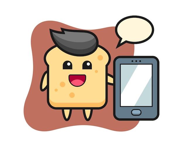 Caricature de pain tenant un smartphone