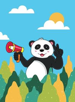 Caricature de panda heureux avec fond bleu