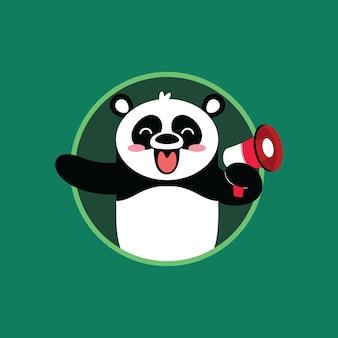 Caricature de panda heureux avec fond vert