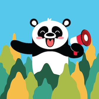 Caricature de panda heureux