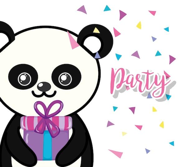 Caricature de panda joyeux anniversaire