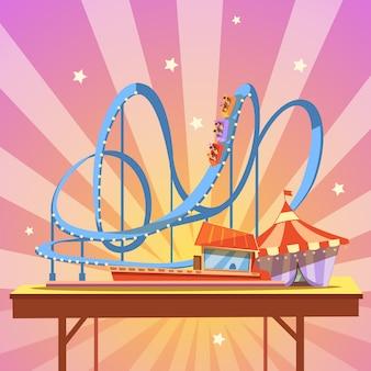 Caricature de parc d'attractions avec montagnes russes de style rétro sur fond abstrait