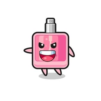 Caricature de parfum avec pose très excitée, design de style mignon pour t-shirt, autocollant, élément de logo