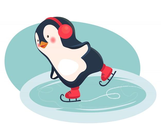 Caricature de patineur pingouin