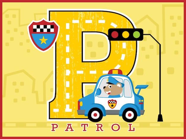 Caricature de patrouille de police sur fond de construction