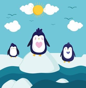 Caricature de paysage d'hiver mignon pingouins