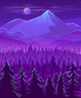 Caricature de paysage nocturne de la terre nord
