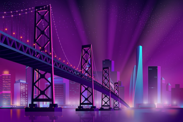 Caricature de paysage de nuit moderne métropole