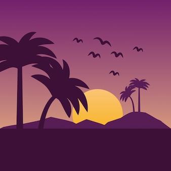 Caricature de paysages d'été et de plage