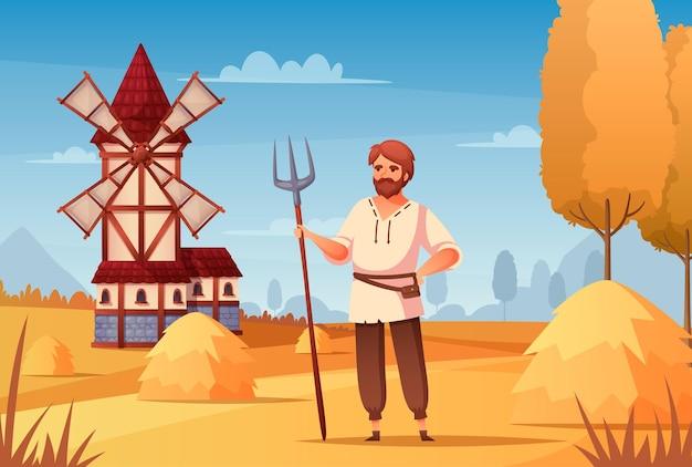 Caricature paysanne médiévale avec illustration de symboles de moulin à vent et de travail,