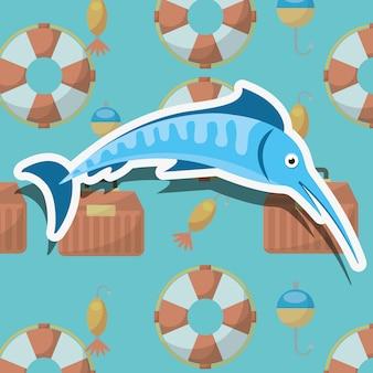 Caricature de pêche au poisson