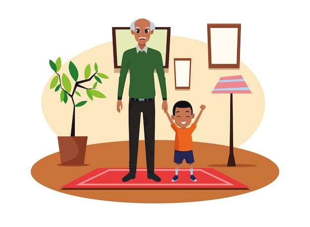 Caricature de père célibataire avec petit fils