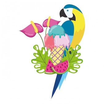 Caricature de perroquet oiseau tropical